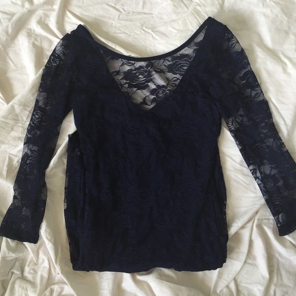 Lace Sleeved Sexy Navy Blue Cocktail Dress Never worn, still has tag barb on the left sleeve!   - No trades please. - No PayPal please.  - Bundles are encouraged! - Open to offers and negotiating. :) - Feel free to ask q's and request to model. :) Dresses Mini