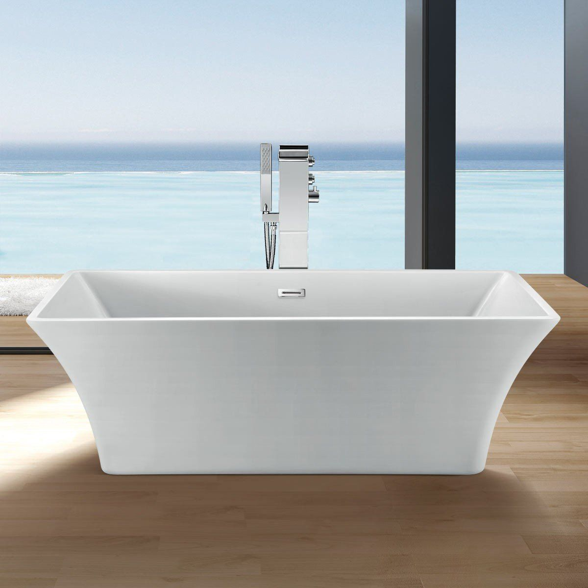 Randolph Morris 60 Inch Acrylic Double Ended Freestanding Tub - No ...