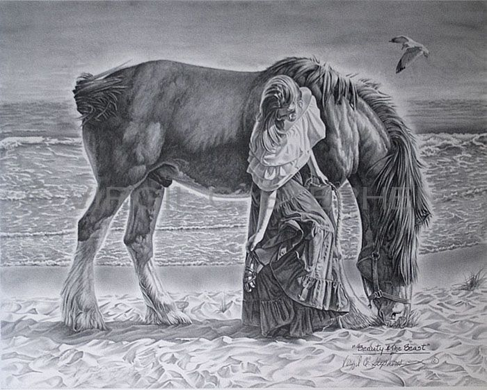 This scene was my daughter with a friends horse beauty the beast romantic pencil drawing by western artist virgil