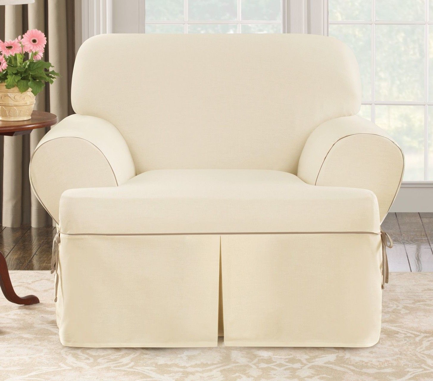 Sure Fit Cotton Duck Club Chair T Cushion Slipcover