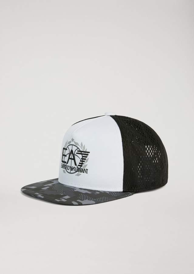 24120d1841b Emporio Armani Ea7 Technical Fabric Basketball Snapback Cap With Logo Detail