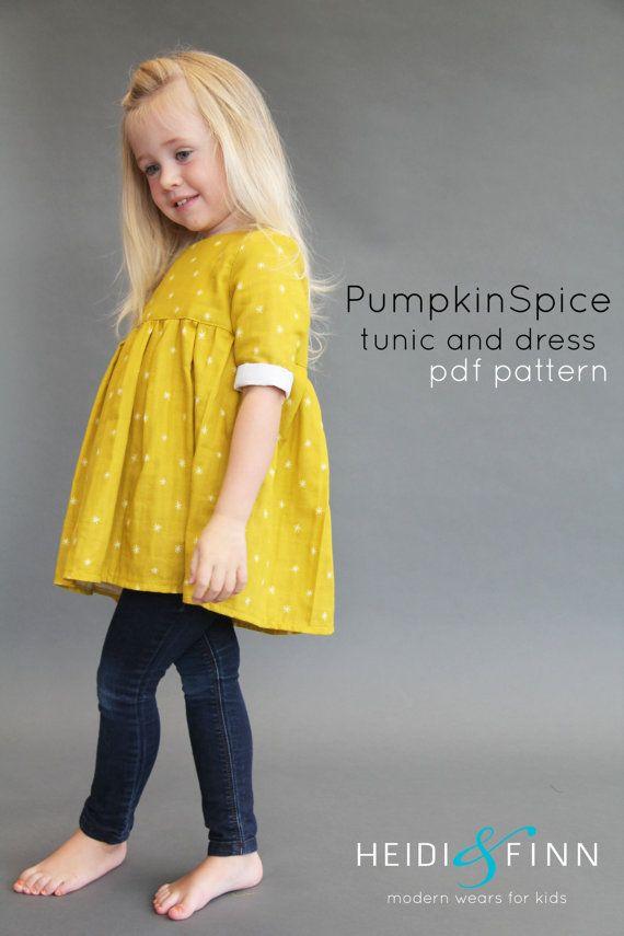 Pdf Pattern Tutorial Hand Embroidery Stitch My Garden 002: Pumpkin Spice PDF Pattern And Tutorial 12m-12y Tunic Dress