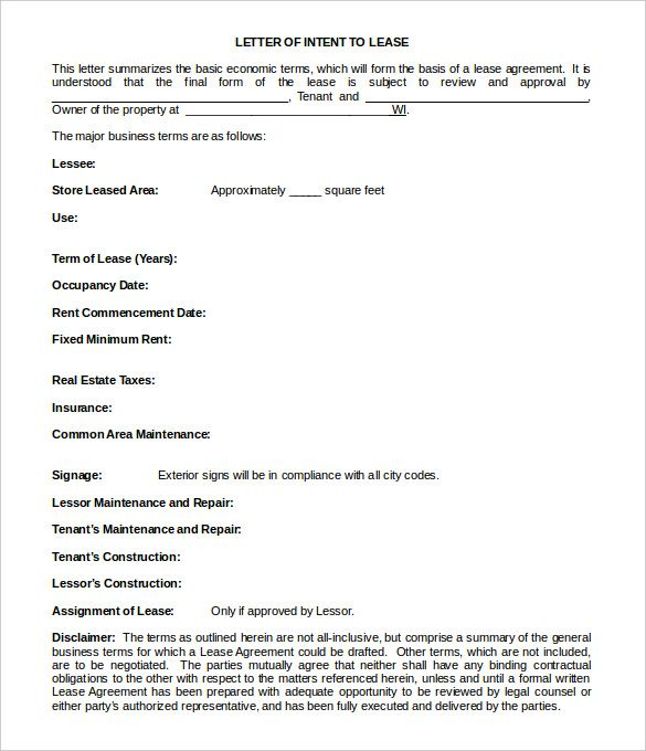Simple Letter Of Intent Template Pinterest