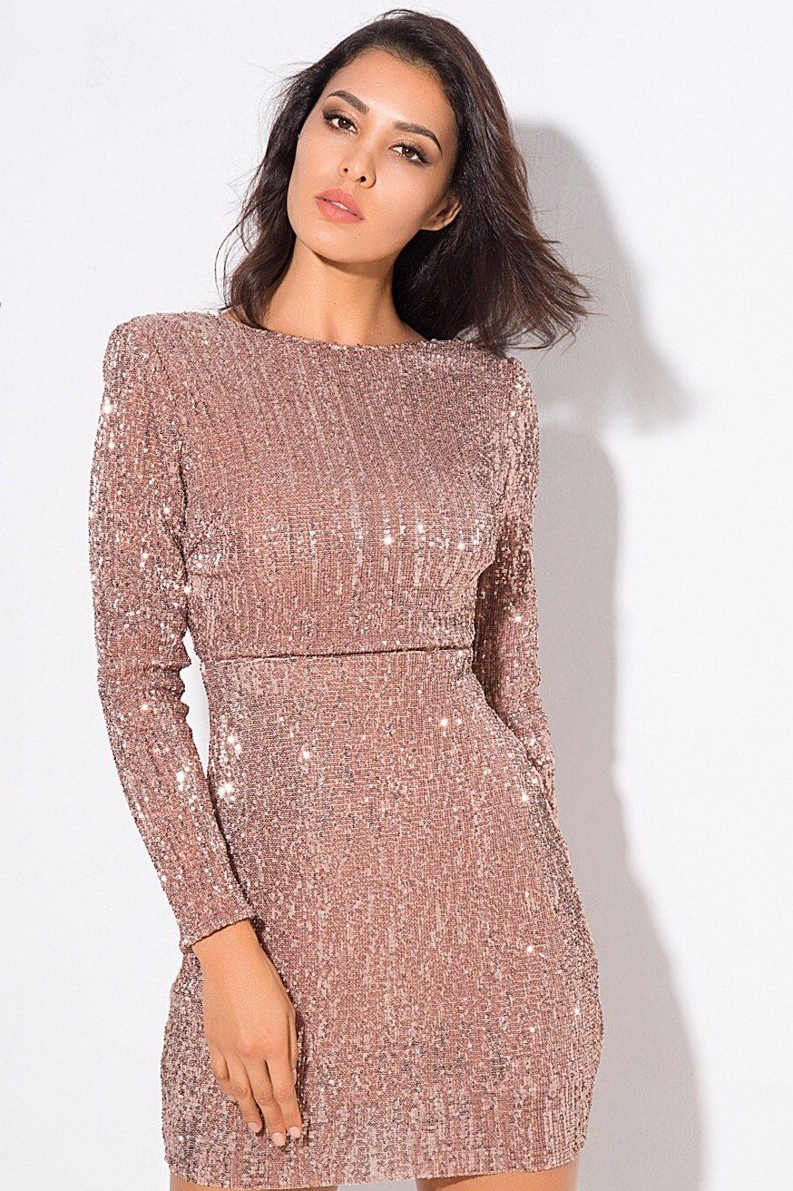 Champagne Long Sleeve Exposed Back Sequin Mini Bodycon Dress