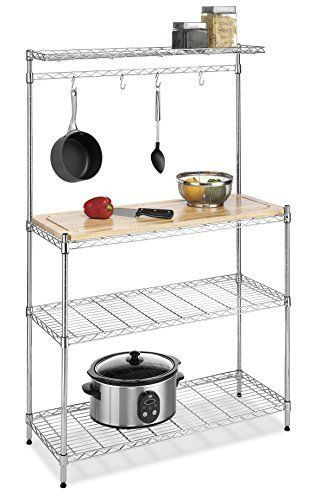 Kitchen Utility Cart Bakers Rack Storage Adjule Wood Chrome Pots Pans