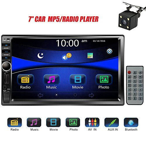 Regetek Double Din Bluetooth 7 HD Touch Screen Car Stereo Radio Audio in-Dash FM AM Player MP3 Video Receiver AUX SD USB