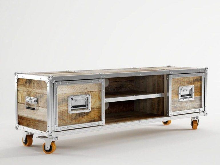 Mobile TV basso in legno con ruote ROADIE | Mobile TV con ruote ...