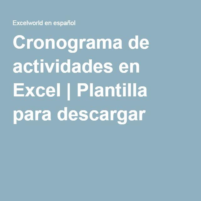 Cronograma de actividades en Excel | Plantilla para descargar ...