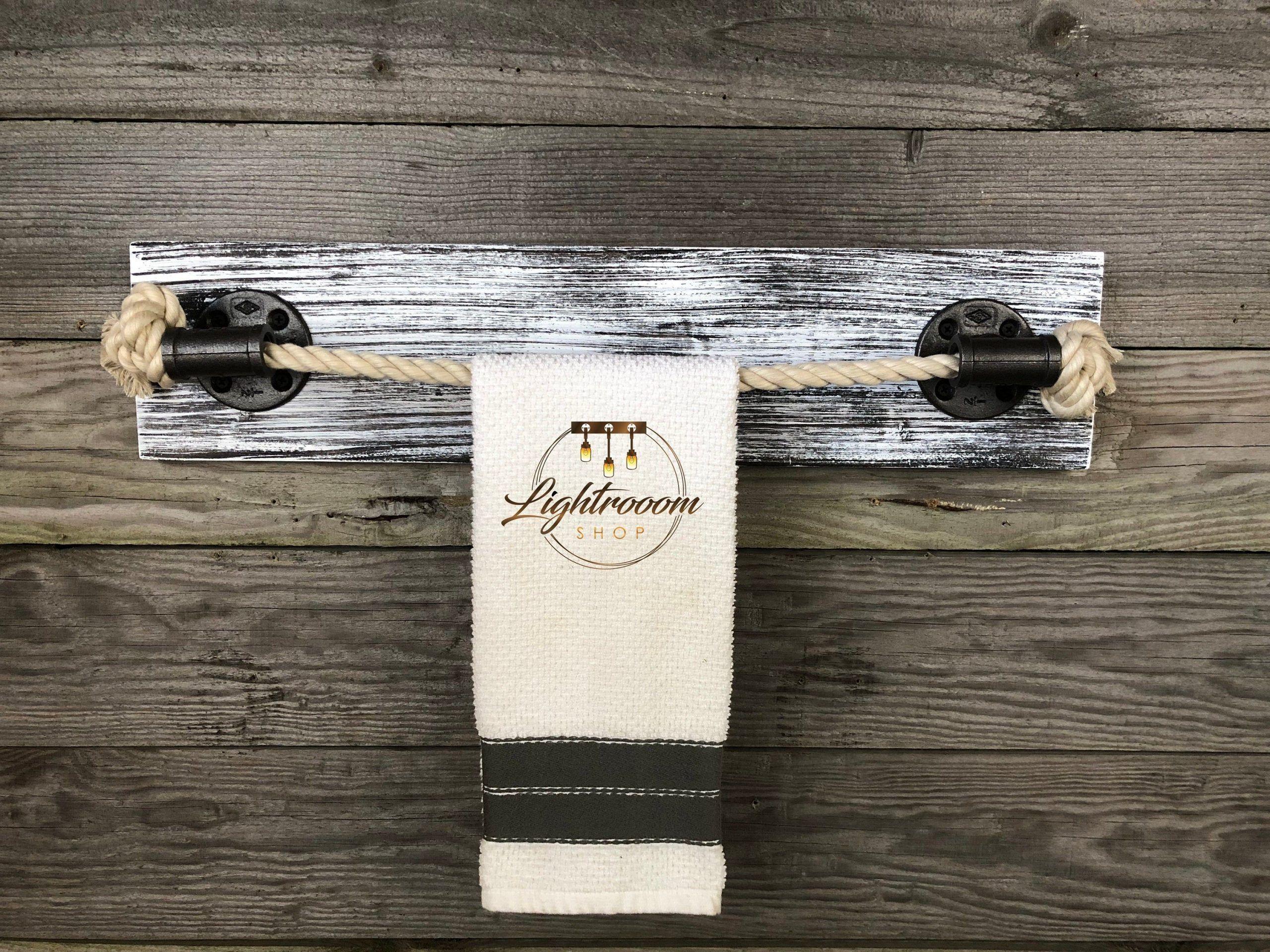 Photo of GRAY WHITEWASH Wood, Rope Towel Holder, Nautical Design, Towel Bar, Towel Rack, …