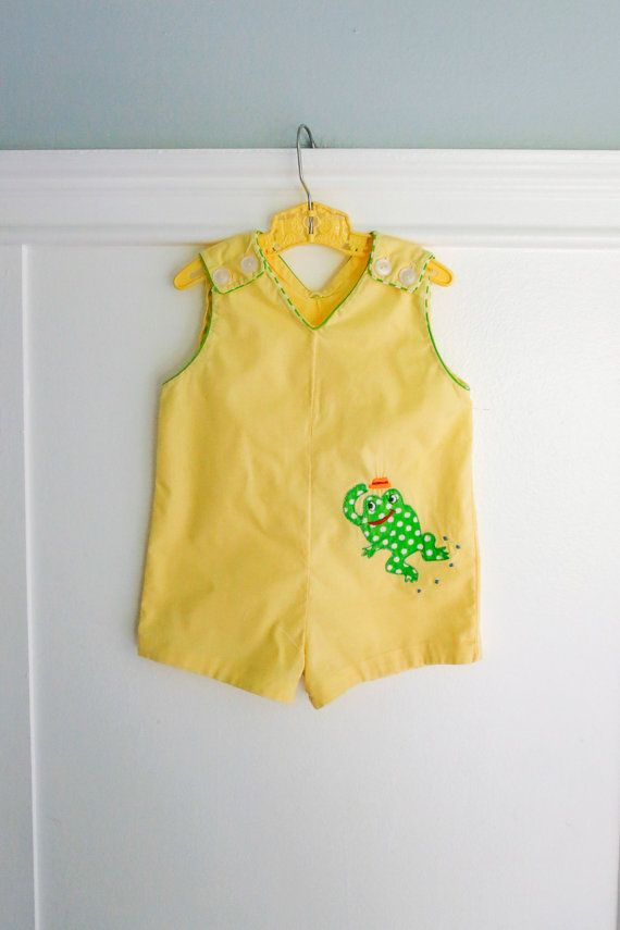 6-12 Months: Yellow Baby Boy JonJon Romper, Green Polka Dot Frog Applique