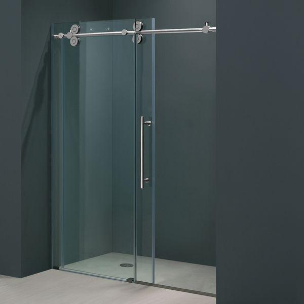 Vigo 60 Inch Clear Glass Frameless Sliding Shower Door Rustic