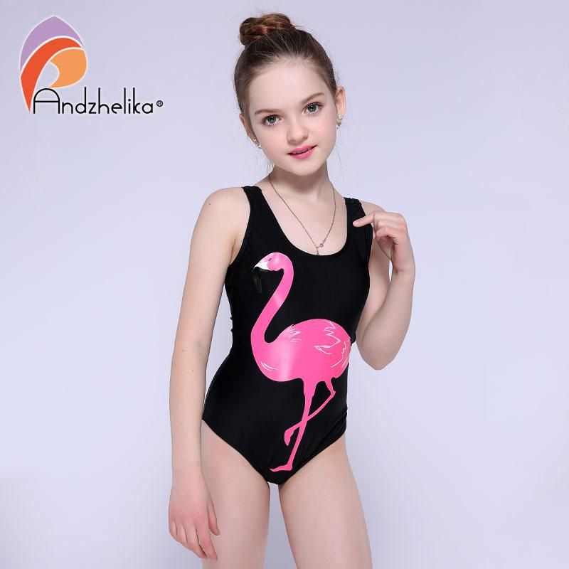 5d40c005de Andzhelika Girls One Piece Swimsuit 2018 New Animal Print Cartoon Bird  Swimwear Sports Girls Bodysuit Swim Suits Bathing Suit