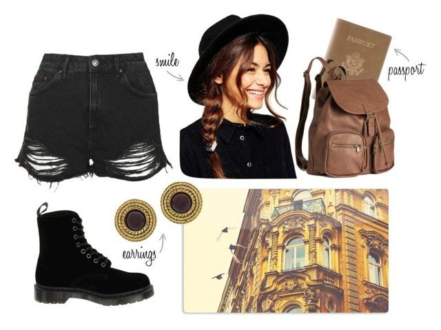 """""""Goodbye winter, hello spring."""" by lina-93 ❤ liked on Polyvore featuring ASOS, Topshop, Royce Leather, Dr. Martens, H&M, Chanel, travel and hat"""