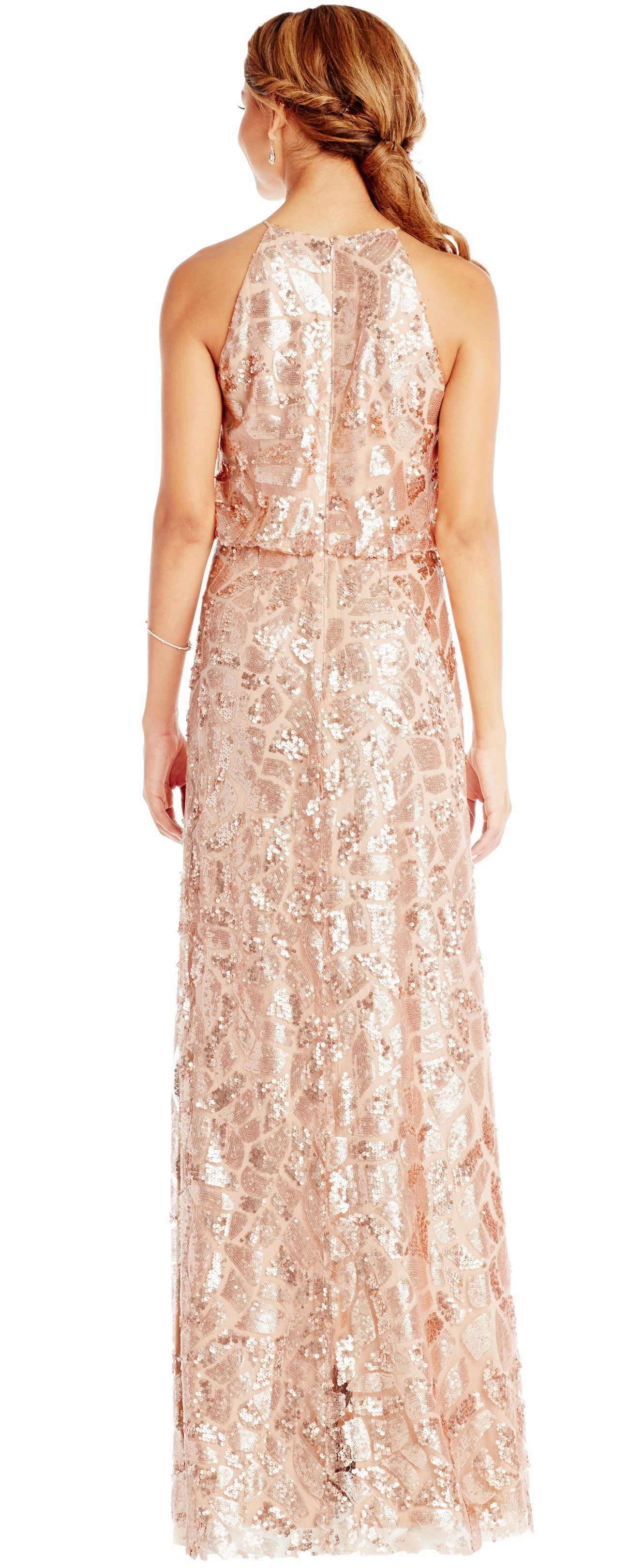 Chic sleeveless high neck sequined convertible bridesmaid