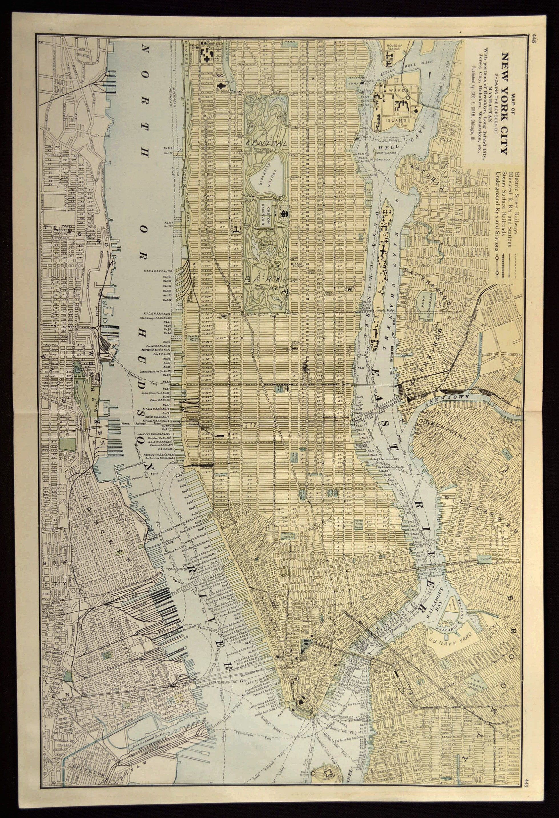 manhattan map manhattan street map new york city map antique