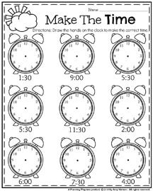 May First Grade Worksheets For Spring  Telling Time Worksheets