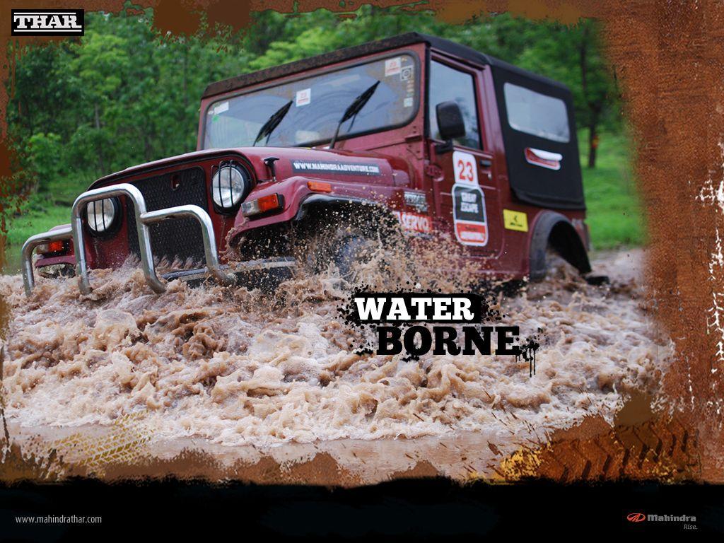 Mahindra Thar Toreador Red Color In Water Wallpaper Mahindra Thar Jeep Water