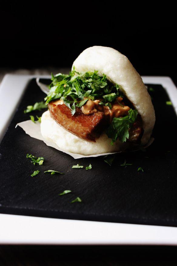 Two Baos in a Steamer Braised pork belly Braised pork and Pork belly