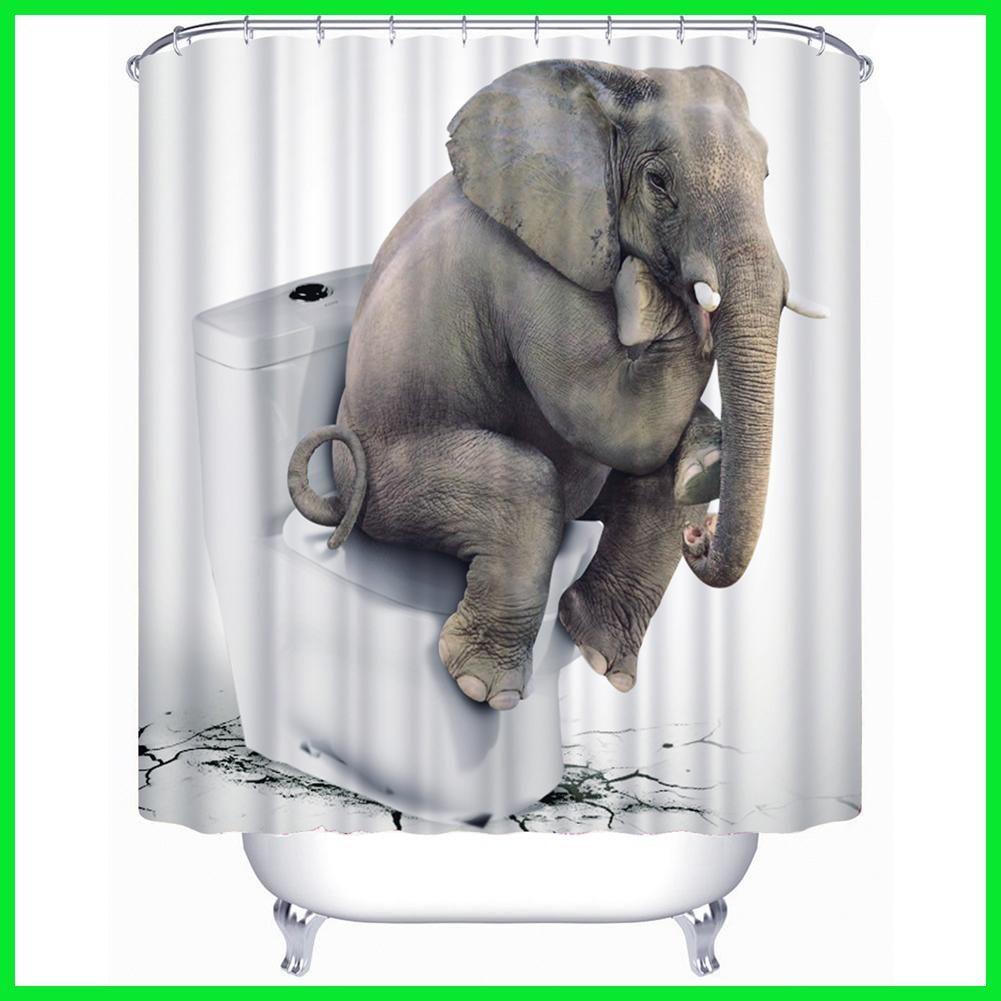 3d Printed Elephant Bath Curtains Thinkness Pe Waterproof Bathroom Shower Curtains Bath S Funny Shower Curtains Fabric Shower Curtains Elephant Shower Curtains