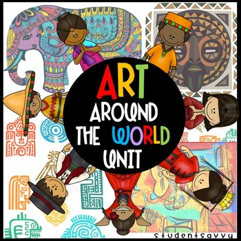 """Students will read & learn about the art history from Africa, Italy, Japan, India, Mexico, and China! They will discover common art elements & themes from each location and famous artworks in history. """"What I Learned"""" recall & writing pages as well as """"Exploring Artwork"""" homework pages are included in this resource! Fun art projects featuring common elements and themes from each location are implemented in this resource!"""