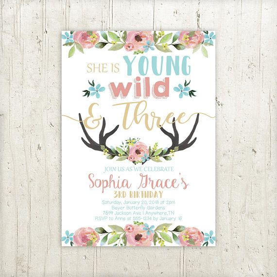 young wild and three birthday invitation girls 3rd birthday invite