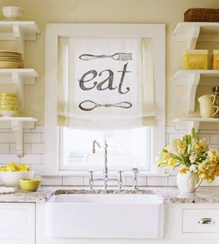 """Do It Yourself Window Treatments: Love This Do It Yourself """"eat"""" Kitchen Curtain."""