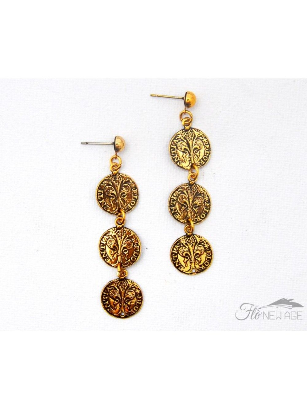 Flo New Age Gold Plated Br Earrings Made In Italy