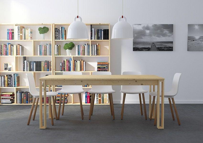 Composición para comedor formada por la mesa Arina para 8 comensales ( 1800 x880 ) y dos estanterías asimétricas de 6 baldas. En madera maciza LUFE. Venta online en: www.muebleslufe.com #MueblesLUFE #madera #DIY #ecologico #composicion