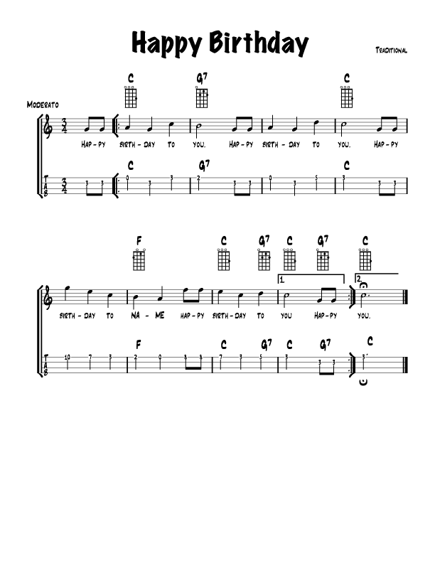 Piano happy birthday piano sheet music : Guitar-Easy songs with Chords and TAB | Songbook | Pinterest ...