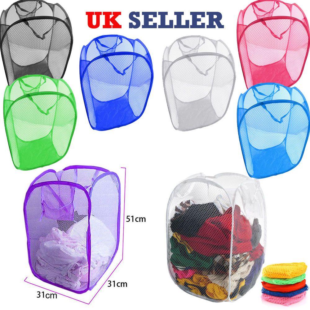 Details About Laundry Bag Pop Up Mesh Foldable Washing Basket Bin
