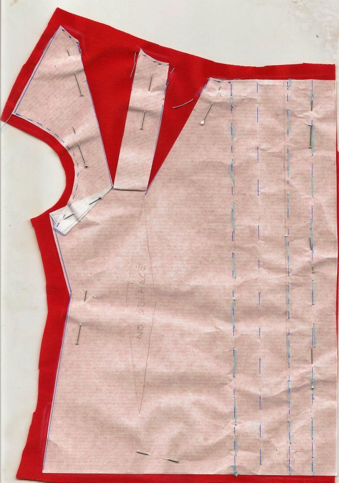 Disposición sobre la tela para frunce en el cuello | vestido de ...