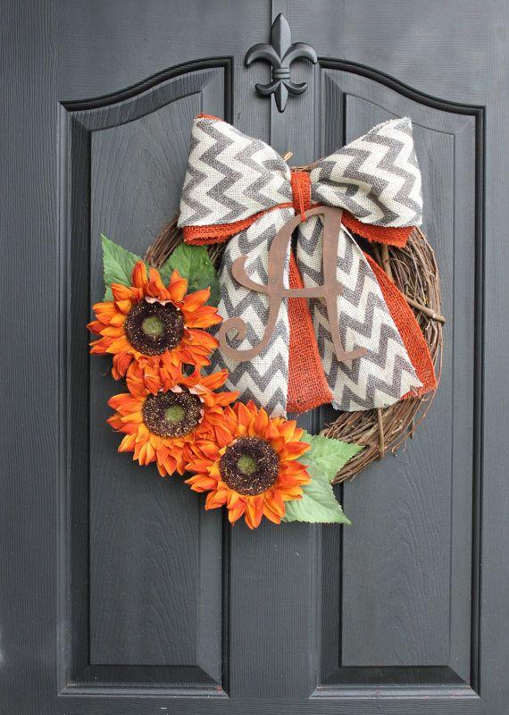 Wreaths++Sunflower+wreath++Monogram+Wreath++Fall+by+OurSentiments,+$65.00
