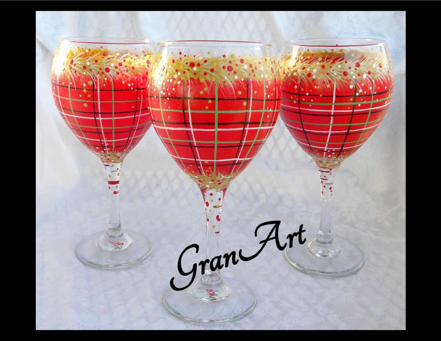 Christmas Plaid Wine Glass 2 Christmas Wine Glass Party Red Plaid Red Wine Glasses Tartan Painted Wine Holiday Wine Glasses Blue Wine Glass Holiday Wine