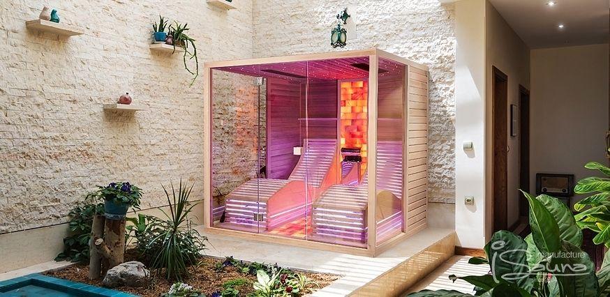 Kombinierte Sauna nach Maß mit Glasfront. Individueller Bau ...