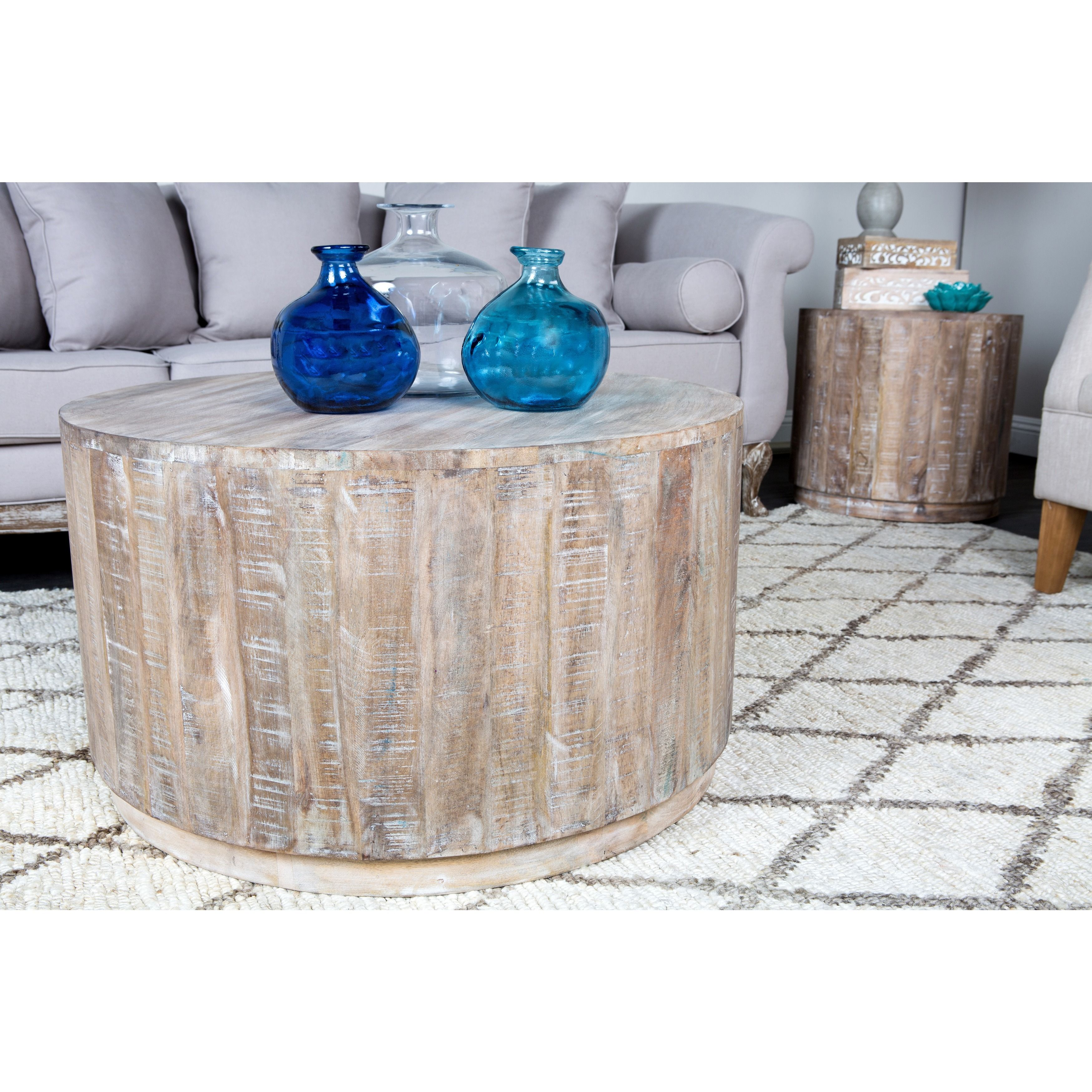 Cannie Hand Crafted Wood Round Coffee Table By Kosas Home