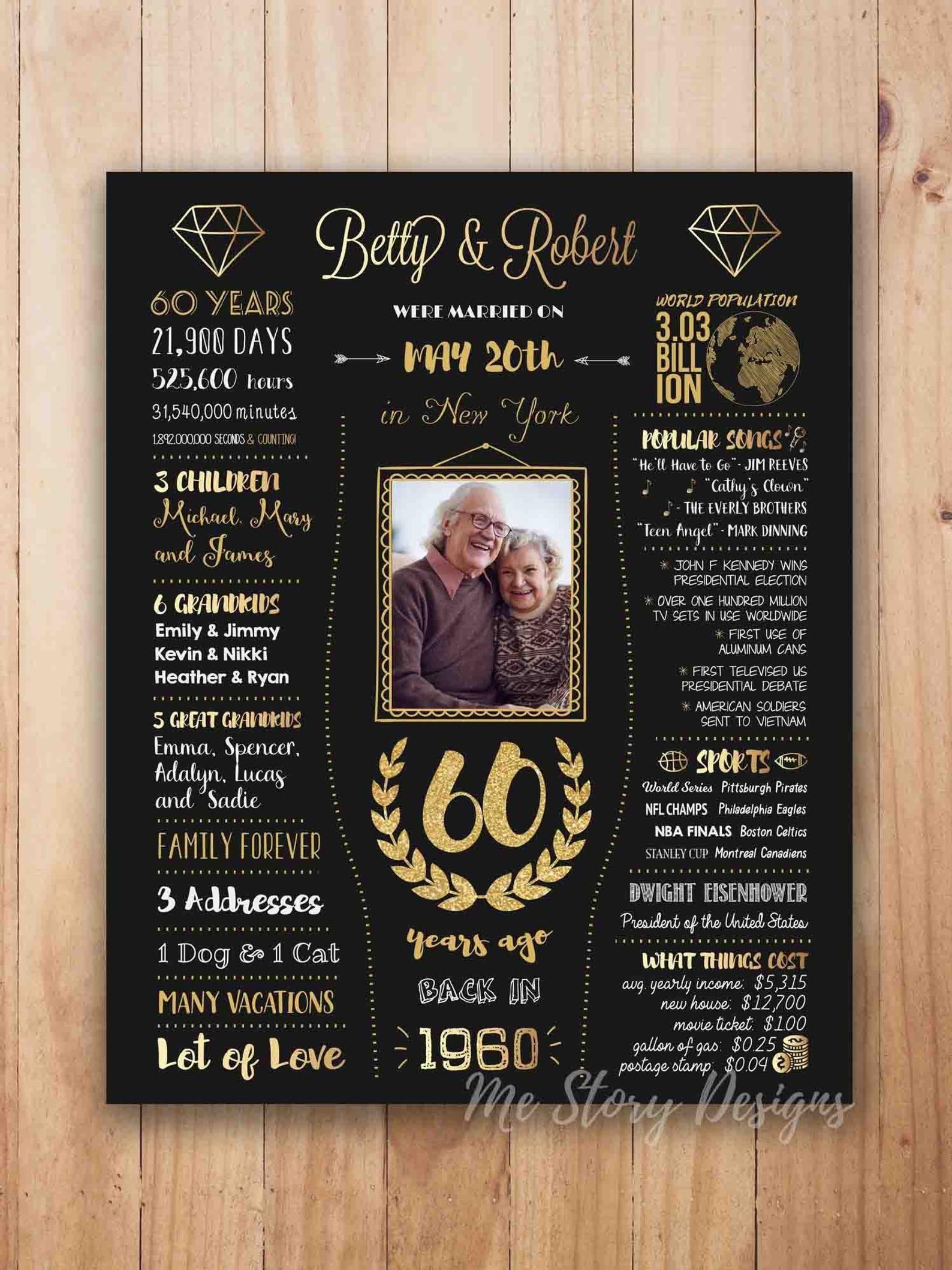 60th anniversary gift, 60th wedding anniversary sign