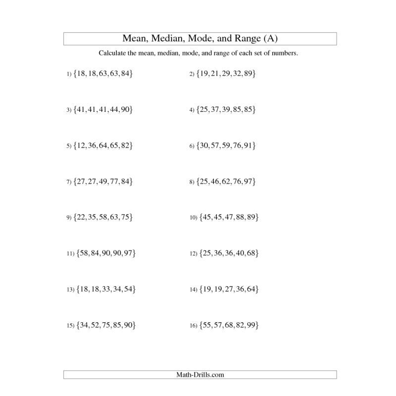 Data Management Worksheet -- Mean, Median, Mode And Range