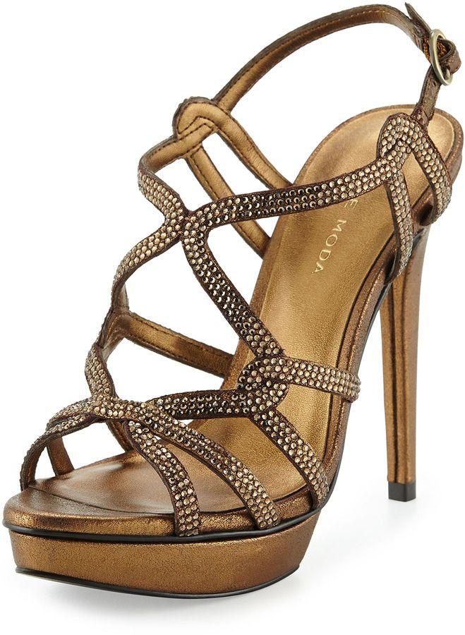 Pelle Moda Flirt Metallic Evening Platform High Heel Sandals, Bronze
