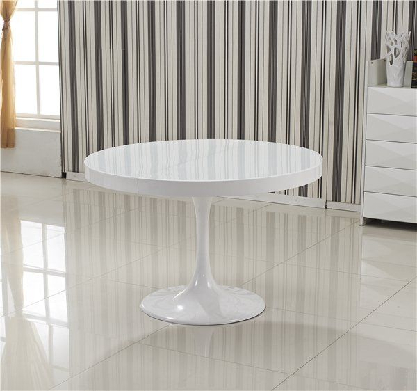 Table ronde extensible tulipe blanche for Table blanche extensible