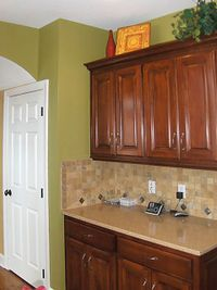 This Cabinet Counter Combo With Tan Walls And Floor For Remodel Pops Of Jade Green To Match The Dining Room Possibly Some Jade Green Green Kitchen Home Kitchens Cabin Kitchens