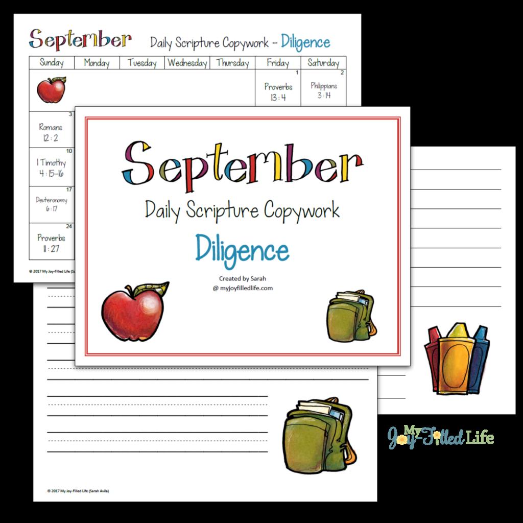 Daily Scripture Copywork Calendar For September