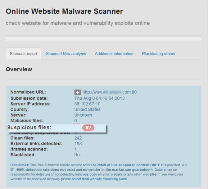 This compromised website has suspicious JavaScript code