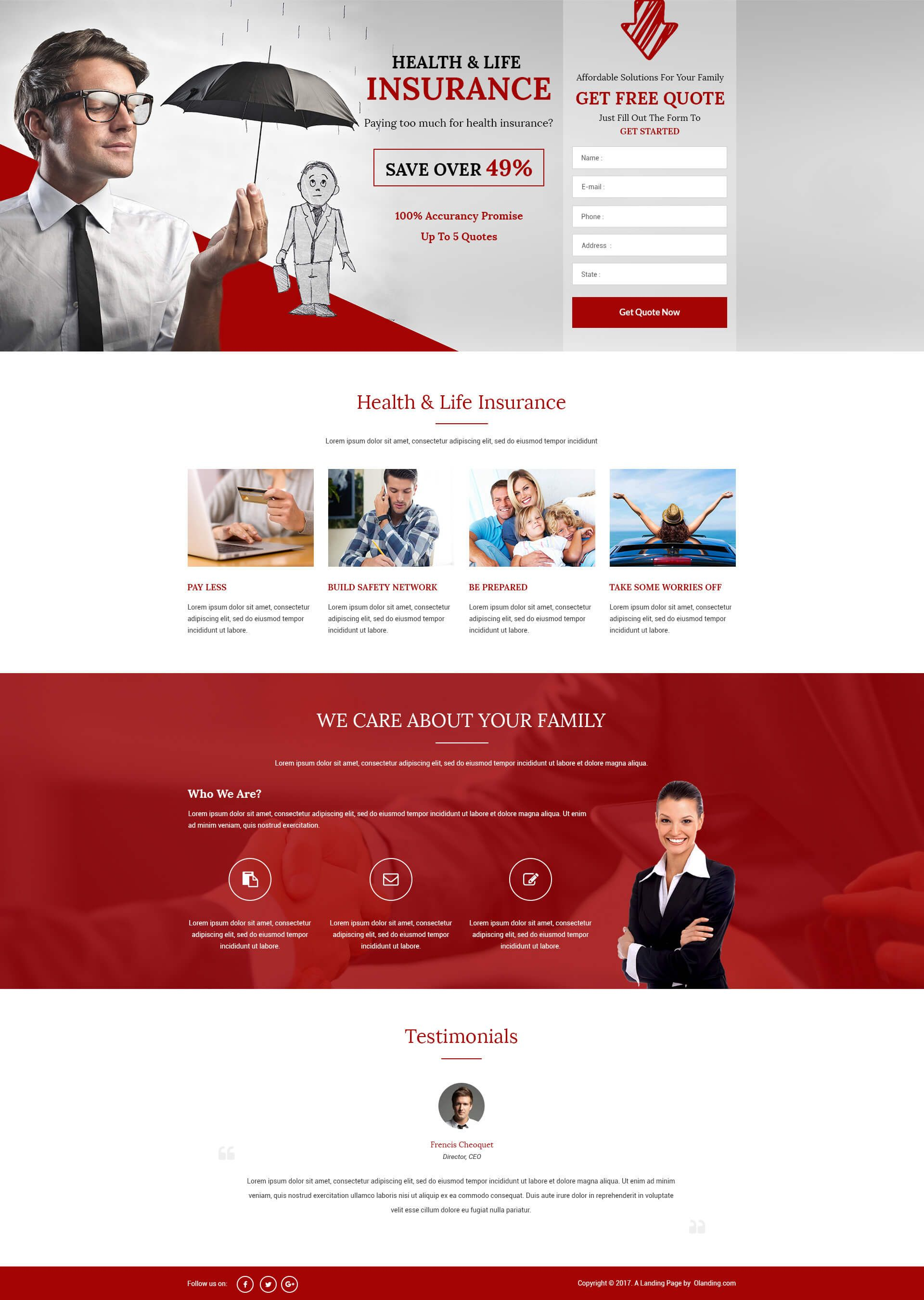 Lead Gen HTML5 Health&Life Insurance Landing Page Design Templates ...