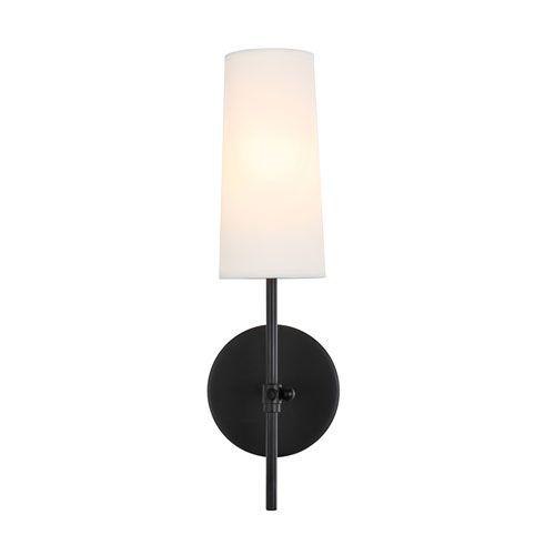 Photo of Elegant Lighting LD6004W5BK Mel Black Five in. One-Light Wall Sconce in Black/White Shade, Transitional | Bellacor