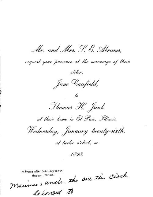 1898 American Wedding Invitation