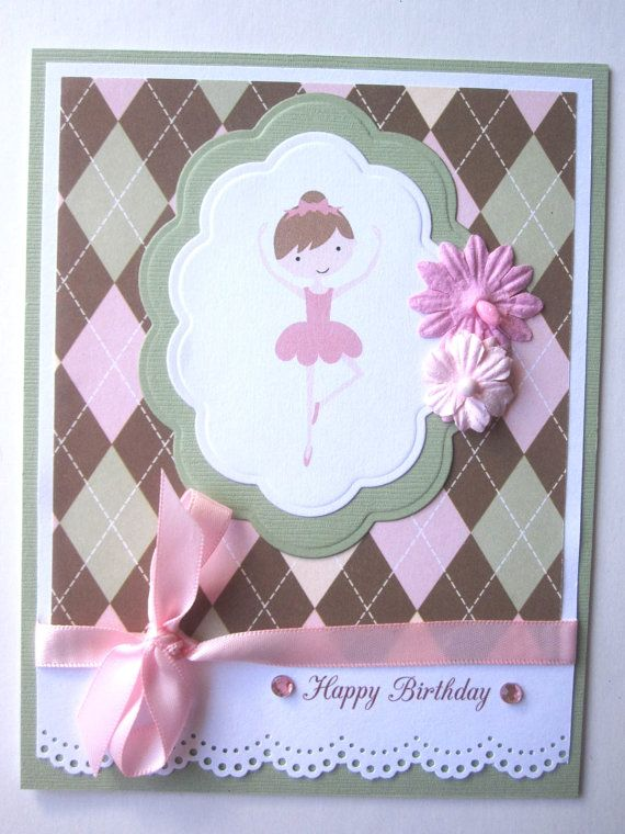 Handmade Ballerina Birthday Card For Girl By