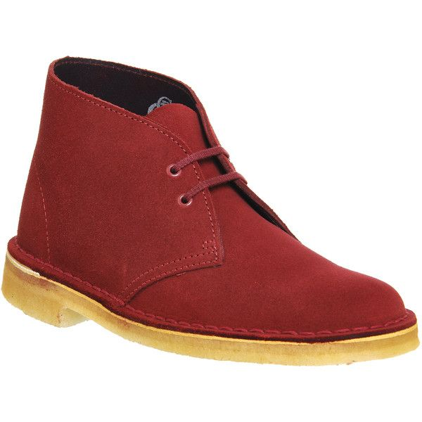 Clarks Originals Desert Boots ($145) ❤ liked on Polyvore featuring shoes, boots, ankle booties, ankle boots, cherry suede, women, desert boots, lace up ankle boots, lace up bootie and suede lace up booties