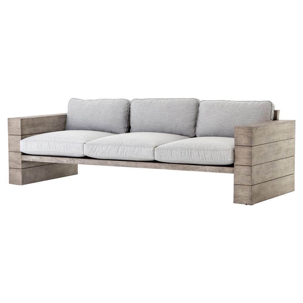 Leroy Cushioned Grey Teak Wood Outdoor Sofa Teak Patio Furniture Gray Patio Furniture Outdoor Sofa