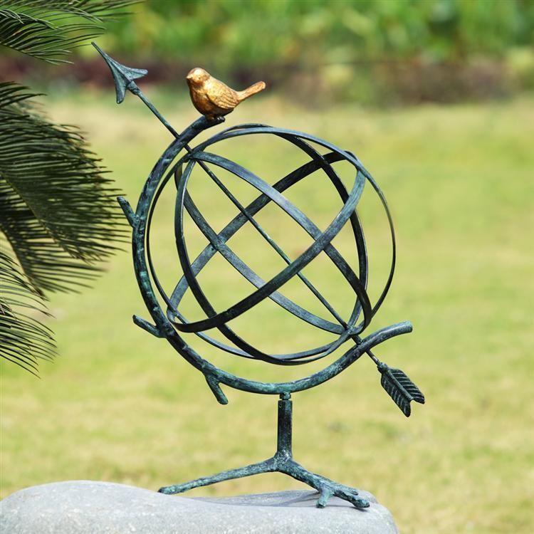 Desktop armillary with birdtwig metal garden sculpture12