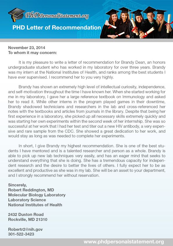 Great Phd Letter Of Recommendation Sample Which Will Provide You